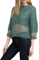 Rvca Women's Sheer Stripe Pullover Green Stripe