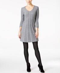 Ny Collection Petite Cable Knit V Neck Sweater Dress Grey Heather