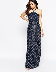 Maya Halter Neck Embellished Maxi Dress Navy