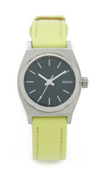 Nixon Small Time Teller Watch Navy Neon Yellow