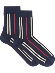 Burberry Icon Stripe Intarsia Ankle Socks Blue