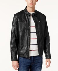 Kenneth Cole Men's Marbleized Faux Leather Moto Jacket Black