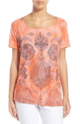 Women's Lucky Brand Paisley Print Scoop Neck Tee