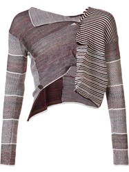 Andreas Kronthaler For Vivienne Westwood Cropped Patchwork Cardigan Maroon