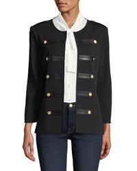 Misook Knit Military Jacket With Faux Leather Epaulets Petite Black
