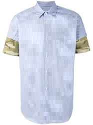 Comme Des Garcons Shirt Camouflage Detail Striped Shirt Blue