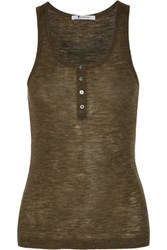 Alexander Wang T By Ribbed Wool Tank Army Green