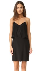 Madewell Lace Inset Silk Dress Black