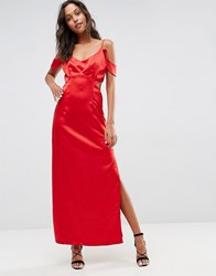 Wyldr Windslow Corvette Satin Dress With Off The Shoulder Frill And Waist Cut Out Red
