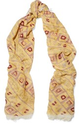 Isabel Marant Printed Modal And Cashmere Blend Scarf Yellow