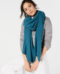 Charter Club Pure Cashmere Oversized Scarf Blue Opal Heather