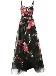 Marchesa Floral Embroidered Maxi Dress Women Silk Nylon 2 Black