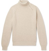 Connolly Zip Detailed Ribbed Cashmere Mock Neck Sweater Beige