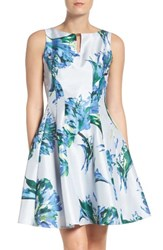 Gabby Skye Women's Floral Shantung Fit And Flare Dress