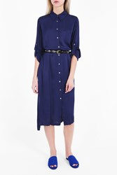 Raquel Allegra Women S Liquid Satin Shirt Dress Boutique1 Navy