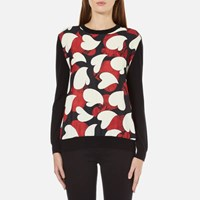 Boutique Moschino Women's Silk Heart Print Front Merion Jumper Multi