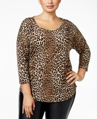Michael Kors Plus Size Animal Print Top Caramel