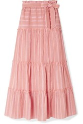 Lemlem Taytu Tiered Striped Cotton Blend Gauze Maxi Skirt Pink