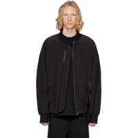 D By D Black Oversized Out Strap Bomber Jacket