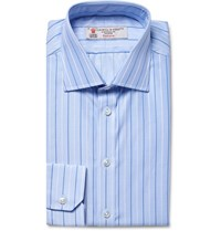 Turnbull And Asser Blue Slim Fit Striped Puppytooth Cotton Shirt Blue