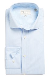 Ted Baker Men's Big And Tall London Blink Trim Fit Check Dress Shirt Blue