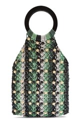 Topshop Mini Mykonos Beaded Tote Green Green Multi