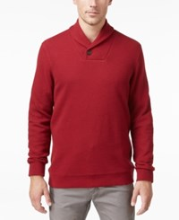 Tasso Elba Men's Big And Tall Honeycomb Textured Shawl Collar Pullover Only At Macy's Red Velvet
