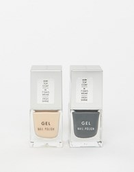 New Look 2 Pack Nail Varnish In Beige And Dark Grey Grey Nude Clear