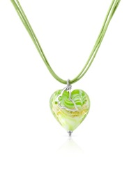 House Of Murano Mare Lime Murano Glass Heart Pendant Necklace