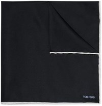 Tom Ford Contrast Tipped Silk Twill Pocket Square Midnight Blue