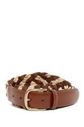 Tommy Bahama Cotton And Leather Braided Belt Brown