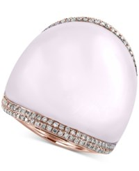 Effy Collection Serenity By Effy Rose Quartz 41 9 10 Ct. T.W. And Diamond 3 8 Ct. T.W. Statement Ring In 14K Rose Gold Pink
