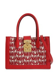 Miu Miu Mini Logo Jacquard Tote Bag Red