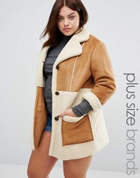 Alice And You Oversized Faux Shearling Panel Coat With Zip Detail Brown