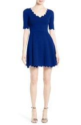 Milly Women's Fit And Flare Knit Dress Cobalt
