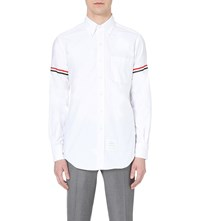 Thom Browne Signature Stripe Regular Fit Cotton Twill Shirt White Blue Red