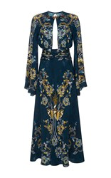 Roberto Cavalli Bell Sleeve Cutout Dress Blue