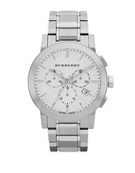 Burberry Mens Stainless Steel Large Chronograph Watch Silver