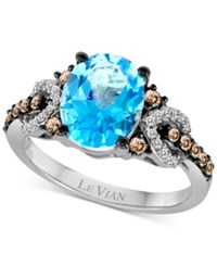 Le Vian Chocolatier Blue Topaz 2 3 4 Ct. T.W. And Diamond 1 3 Ct. T.W. Ring In 14K White Gold