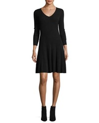 Neiman Marcus Ribbed Fit And Flare Cashmere Sweaterdress Black