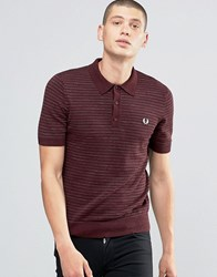 Fred Perry Knitted Polo Shirt With Stripe In Vintage Port Marl Vin Pt Ml Red
