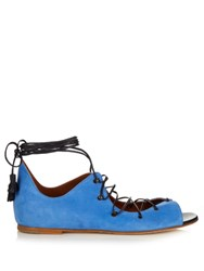 Malone Souliers Savannah Lace Up Suede Sandals Navy
