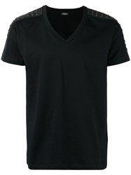 Diesel Stud Embellished T Shirt Black