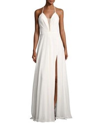 Faviana Sleeveless Ruched Strappy Chiffon Gown White