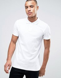 Esprit Slim Fit Basic Pique Polo Shirt In White White