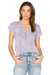 Stateside Lace Up Tee Gray