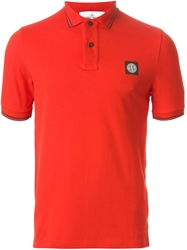 Stone Island Logo Embroidered Polo Shirt Yellow And Orange