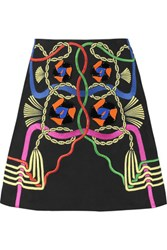 Peter Pilotto Rope Embellished Cotton Twill Mini Skirt Black