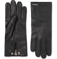 Burberry Cashmere Lined Leather Gloves Black