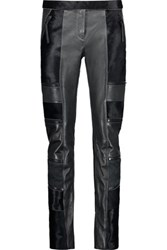 Just Cavalli Paneled Calf Hair Suede And Leather Slim Leg Pants Black